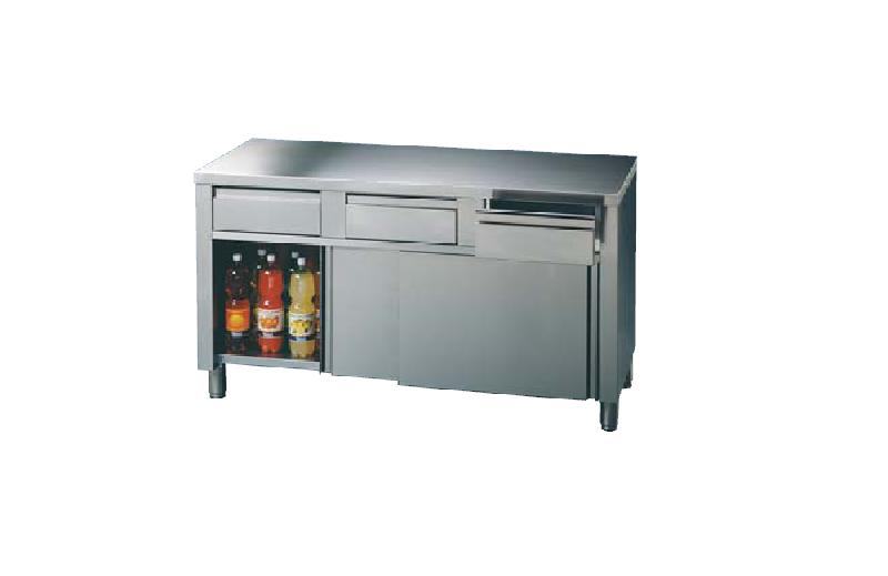 Agencement inox neutre table armoire avec tiroirs l for Table armoire inox
